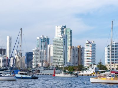 Boats in Cartagena Colombia tourist dock